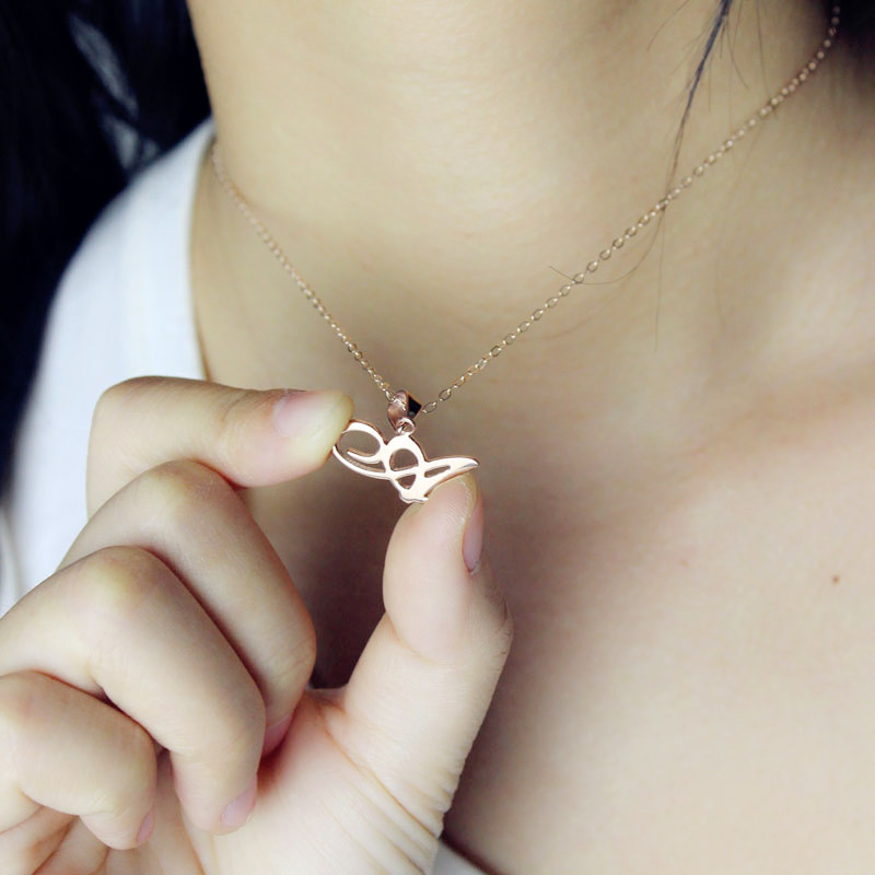 Custom small initial pendant necklace 18k rose gold plated aloadofball Gallery