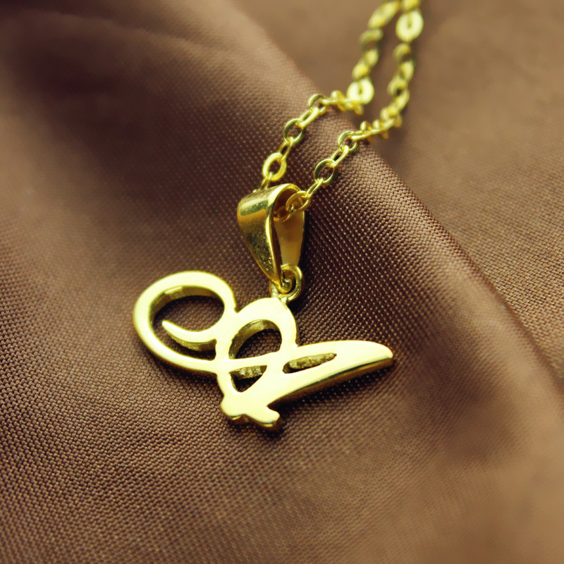 Personalized initial letter necklace 18k gold plated aloadofball Gallery