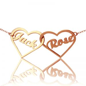 2 Hearts Rose Gold Plated Silver 925 Love Necklace With Names