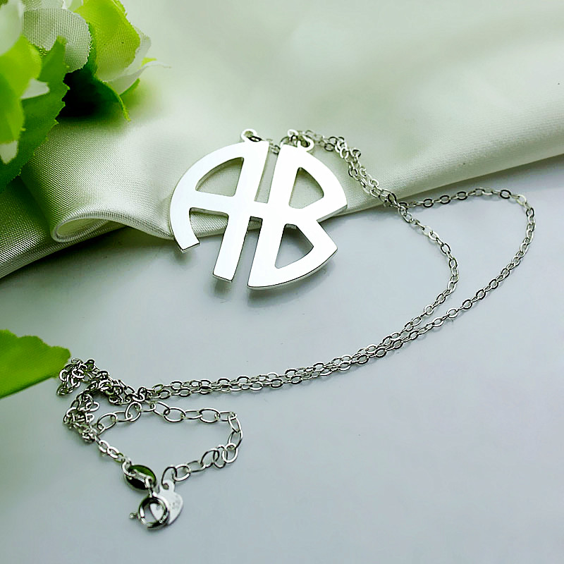 Personalized silver two initial block monogram pendant aloadofball Images