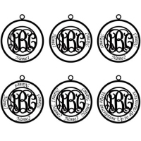 Circle Family Monogram 4 Names Necklace Sterling Silver