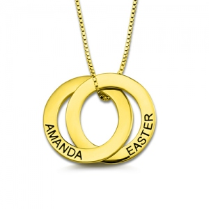Custom Double Russian Rings Name Necklace Gold Plated