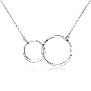 """Kreisförmige Doppelkette """"Du und Ich"""" in Sterlingsilber"""