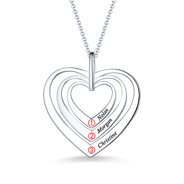 4c2017da182ecb Engraved Family Heart Necklace Sterling Silver