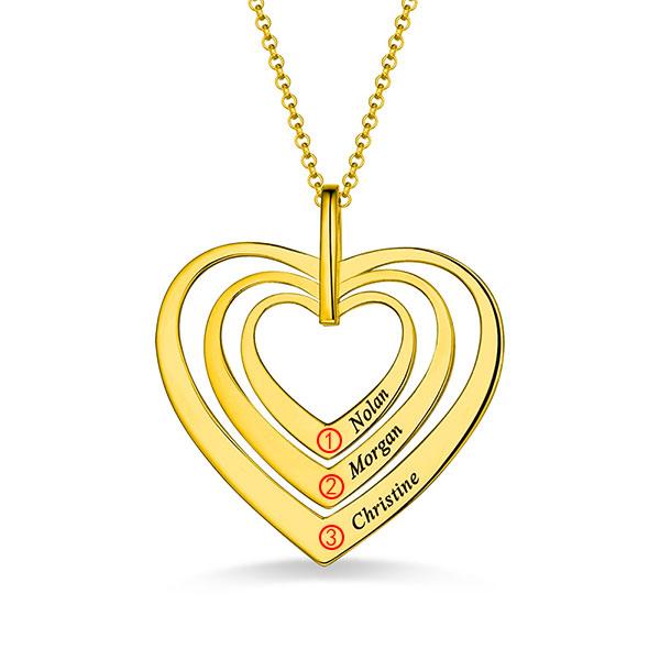 Collier Cœur-3 Prénoms-Plaqué Or