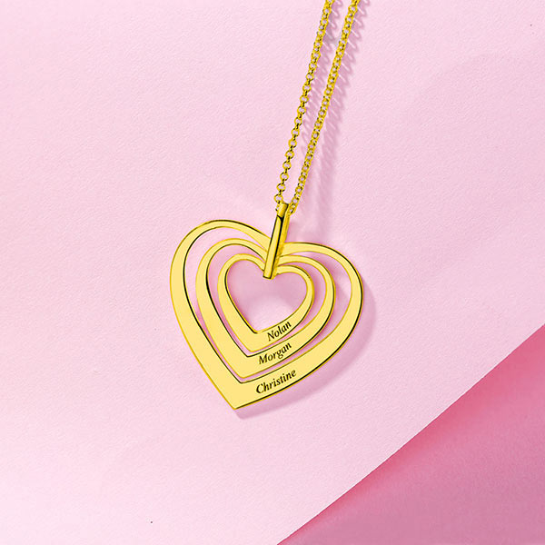 Engraved Family Heart Necklace In Gold