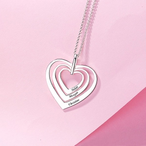 Engraved Family Heart Necklace Sterling Silver