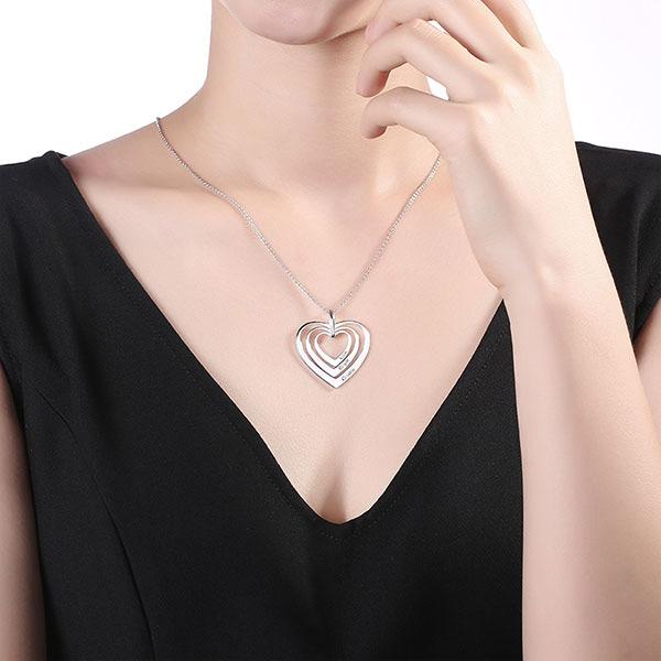 Collier Cœur-3 Prénoms-Argent