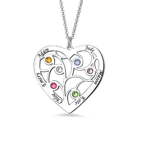Fio com árvore genealógica em forma de coração e gravação em prata de lei com nome e pedras zodiacais