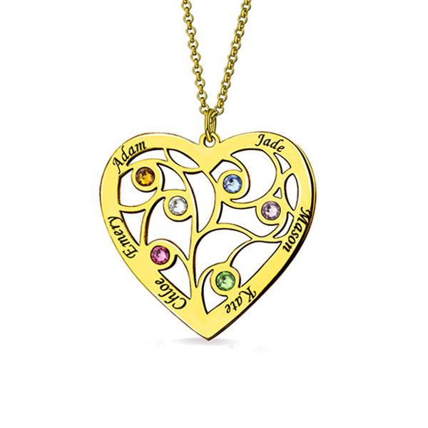 Fio com árvore genealógica em forma de coração e gravação banhado a ouro com nome e pedras zodiacais