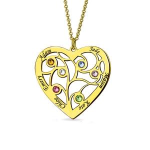 Gravierte Stammbaum Herzhalskette mit Namen und Geburtsstseinen in  Vergoldetes Silber