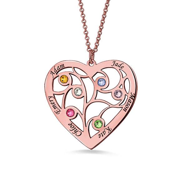 Fio com árvore genealógica em forma de coração e gravação banhado a ouro rosa com nome e pedras zodiacais