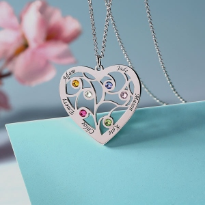 tree necklace with birthstone