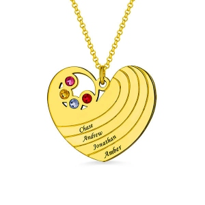 Personalized Heart Necklace with Birthstone& Name In Gold