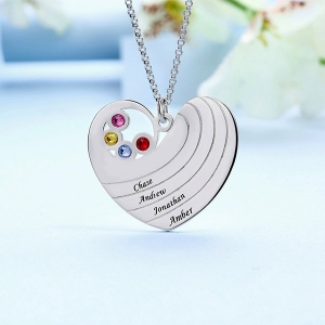Personalized Heart Necklace with Birthstones&Name Sterling Silver
