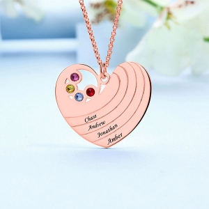 Personalized Heart Necklace with Birthstone&Name In Rose Gold