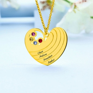Personalised Heart Necklace with Birthstone& Name In Gold