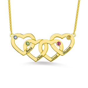 Four Hearts Names&Birthstones Necklace Gold Plated Silver