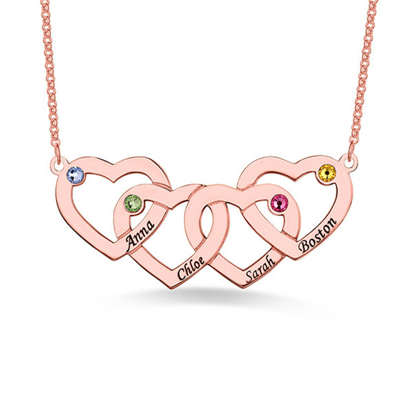 Four Hearts Names&Birthstones Necklace Rose Gold Plated Silver
