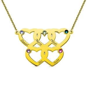 Gravierte Halskette mit fünf Herzen Geburtssteine in Gold