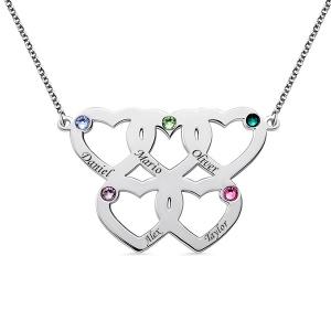 Gravierte Halskette mit fünf Herzen Geburtssteine in Sterling Silber