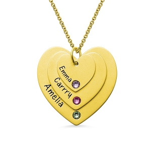 Triple Heart Name Necklace With Birthstones Gold Plated