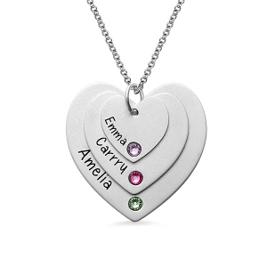 Typically Triple Heart Sterling Silver Name With Birthstones Necklace