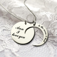 Personalized I Love You to the Moon and Back Love Necklace Sterling Silver