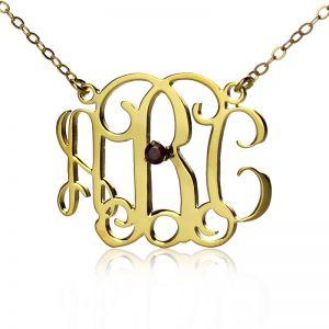 18K Gold Plated Celebrity Monogram Necklace Engraved Birthstone