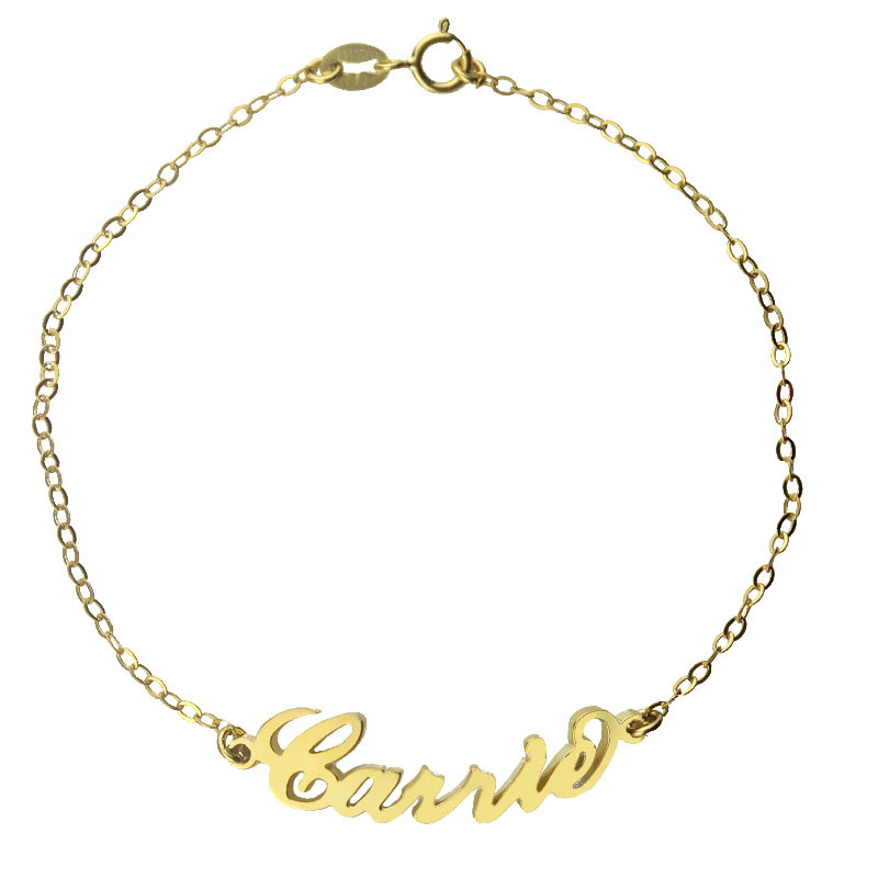 Dual Purpose 18k Gold Plated Carrie Name Bracelet