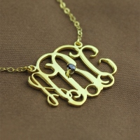 Gold Engraved Initial Necklace