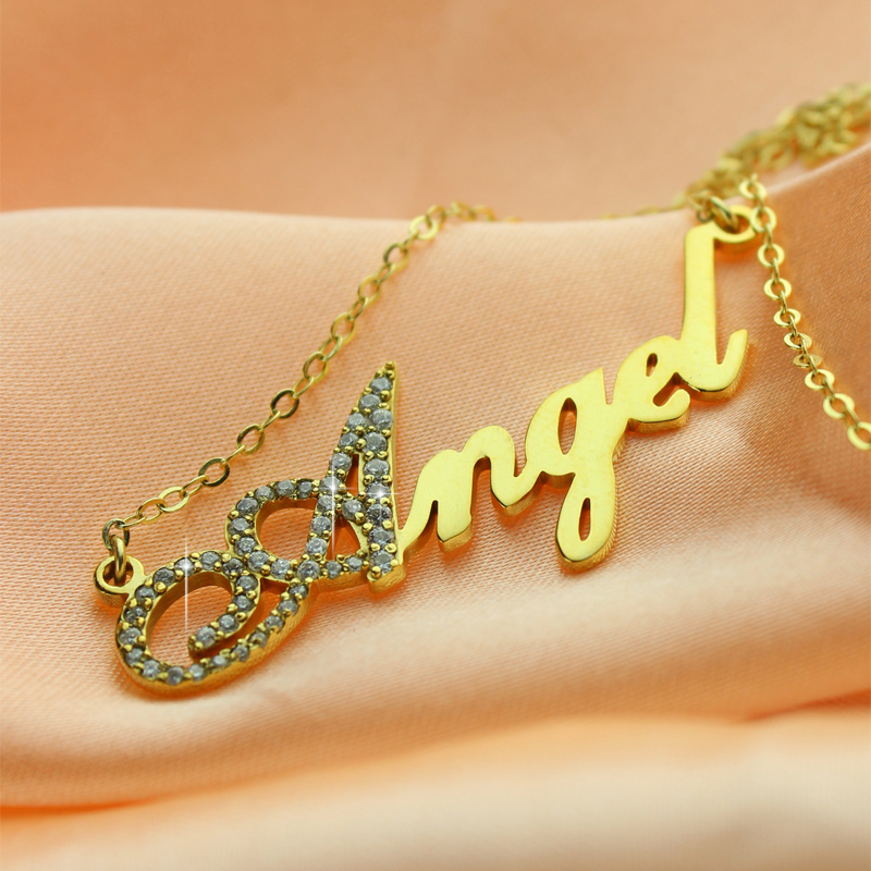 18k Gold Plated Script Name Necklace Initial Full