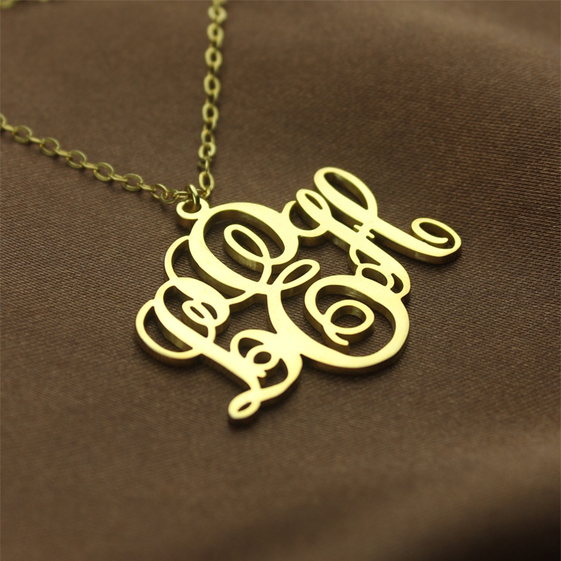 Perfect fancy monogram necklace gift 18k gold plated mozeypictures Image collections