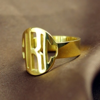 Gold Monogram Initial Ring