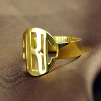Gold Monogram Initial Ring