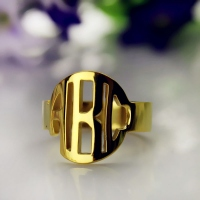 Gold Monogram Name Ring