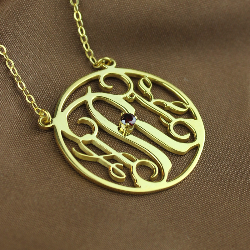 18k Gold Plated Circle Initial Monogram Necklace With