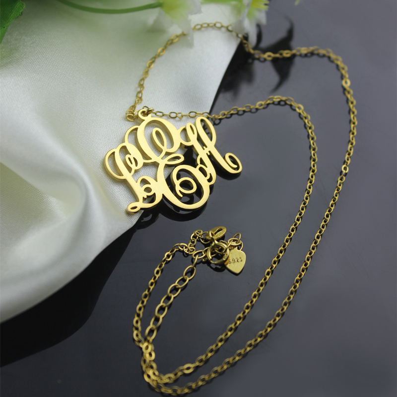 Perfect fancy monogram necklace gift 18k gold plated aloadofball Gallery