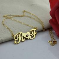 Gold Script Initial Pendant