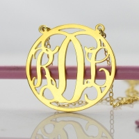 Gold Monogram Disc Necklace