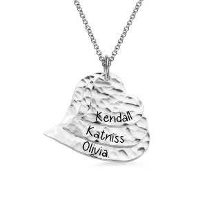 Engraved Hammered Family Heart Necklace Pure Silver