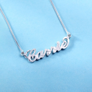 Personalized Carrie Hammered Name Necklace Pure Silver