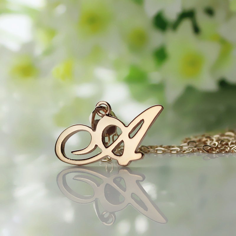 Custom Small Initial Pendant Necklace 18k Rose Gold Plated