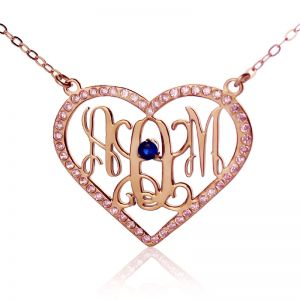 Rose Gold Heart Birthstone Monogram 3 Initial Necklace