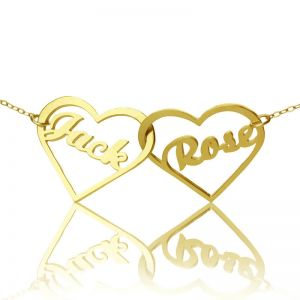 Unique love Double Heart Couple's Name Necklace 18k Gold Plated