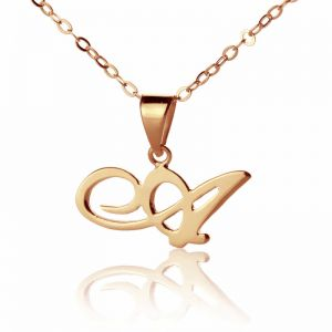 Tiny Smart Artistic Custom Small Initial Pendant Necklace 18K Rose Gold Plated