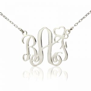 Initial Monogram Necklace Solid White Gold With Heart