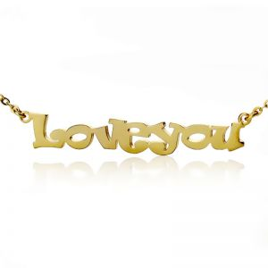 High-end Cute Cartoon Ravie Font Solid Gold Name Necklace