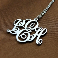 Personalized Vine Font Initial Monogram Necklace Solid White Gold