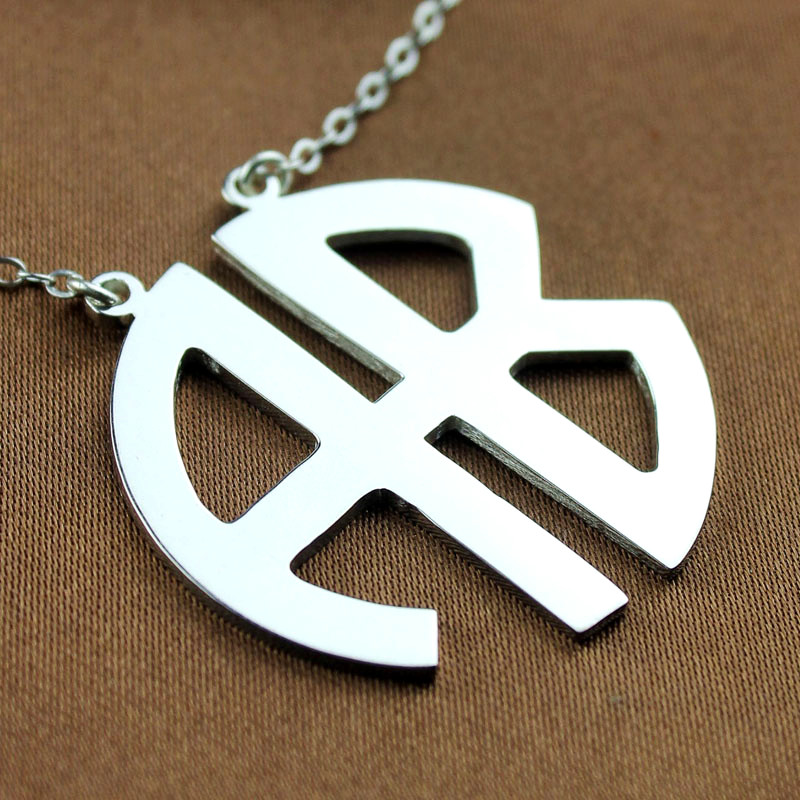 Two initial block monogram pendant necklace solid white gold aloadofball Gallery